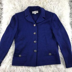St John By Marie Gray Jacket Blazer Blue Gold
